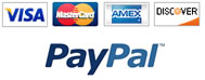 Payment Options - VISA, MC, AMEX, DISC, PAYPAL