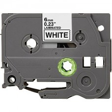 "Brother TZe-211 Compatible P-Touch Label Tape, 1/4"" Black on White"
