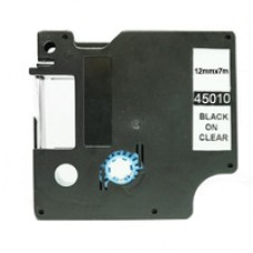 "Dymo D1 Compatible Label Machine Tape, 1/2"", Black on Clear (45010)"